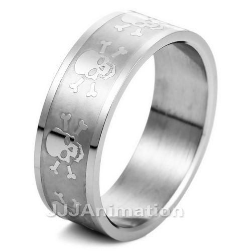 skull mens stainless steel ring band ve270 size 8 12 - Skull Wedding Rings For Men