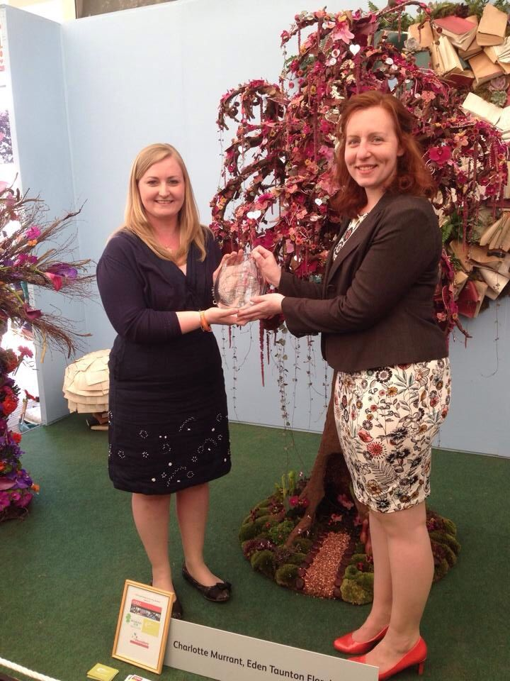 Charlotte Murrant winning RHS Young Florist of the year at Chelsea Flower Show 2015