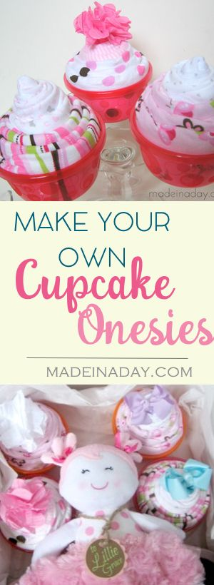 DIY Baby Blanket & Onesie Cupcakes, Be the hit of the Baby Shower! Super easy craft, just roll up Onesies & Blankets and add to bowls to make a cupcake!