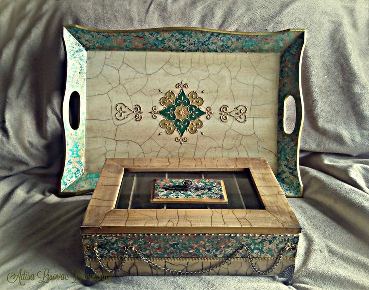 tea box and serving tray Adisa Lisovac Decoupage