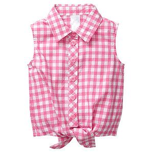 Keep your little miss on trend this season with a barnyard style check tie shirt from our great Sorbet collection! Completely sleeveless, this fully collared shirt features a button down front and a knotted tie at the bottom, offering additional style to an already fashionable shirt.