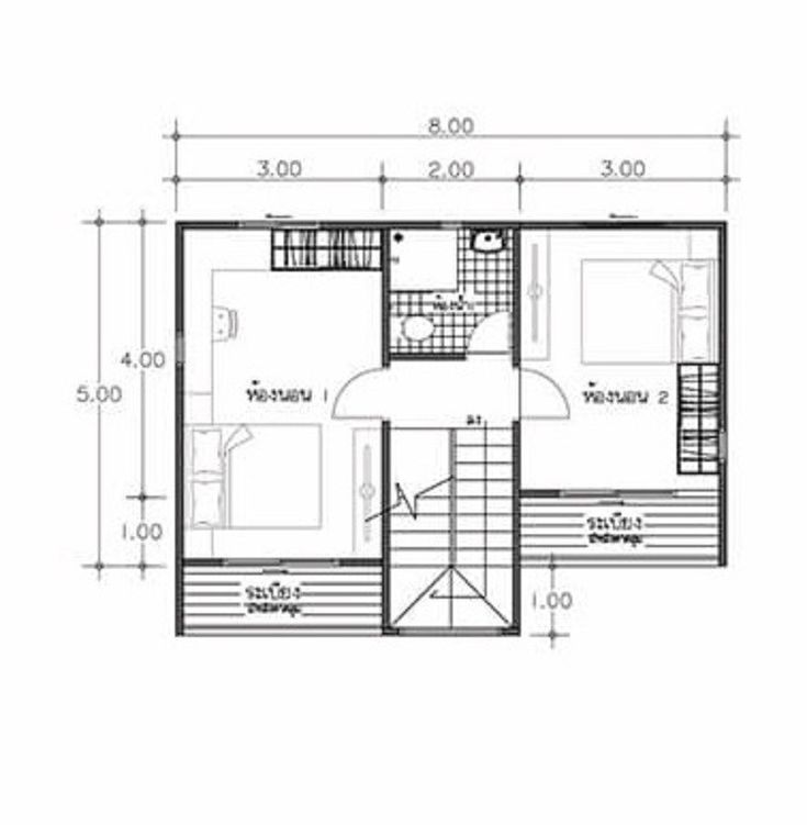 House Plans Idea 8x7 with 2 Bedrooms | House plans, Home ...