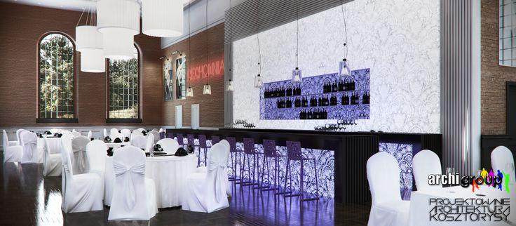 Sala główna restauracji. Projekt wnętrz restauracji w Bytomiu / Interior design of a restaurant in Bytom.