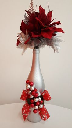 Decorated wine bottle Christmas wine bottle by sofancypapercrafts