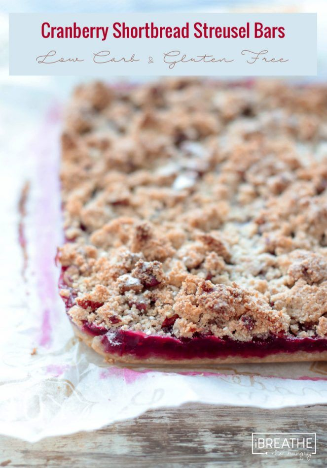 ... and tart, these keto friendly cranberry shortbread streusel bars