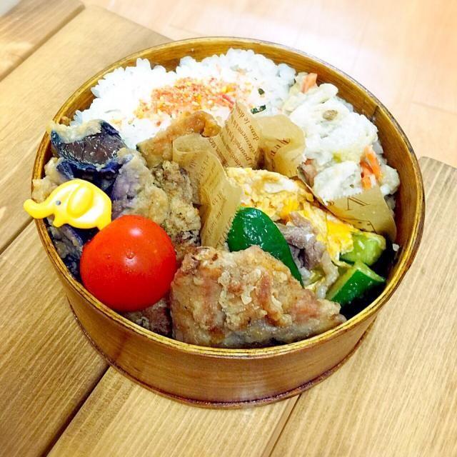キュウリは生もいいけど、炒めるのが好き(≧∇≦) - 32件のもぐもぐ - 里芋サラダ。キュウリ豚卵のオイスター炒め。唐揚げ。トマト。茄子の南蛮。 by rna1129