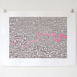 Typographic map of London. Limited colour edition screen print, fluorescent pink / grey.
