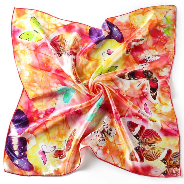 "26"" Small Square 100% Silk Scarf Women Neckerchief Shawl Wrap Pink Red S116-008"