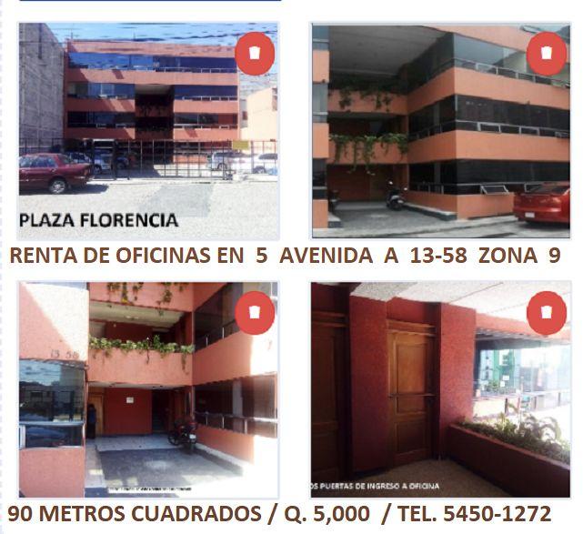 Alquiler de oficinas en Plaza Florencia ubicada en 5 avenida A 13-58 zona 9. Oficinas con un parqueo, 84 metros cuadrados de oficina con divisiones, más 2 baños. Alquiler Q. 5,000 que incluye mantenimiento. Teléfono 5450-1272