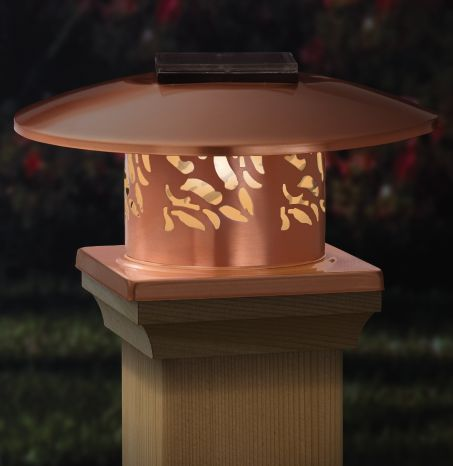 Copper Solar Post Cap Light Beautiful Solar Lights For