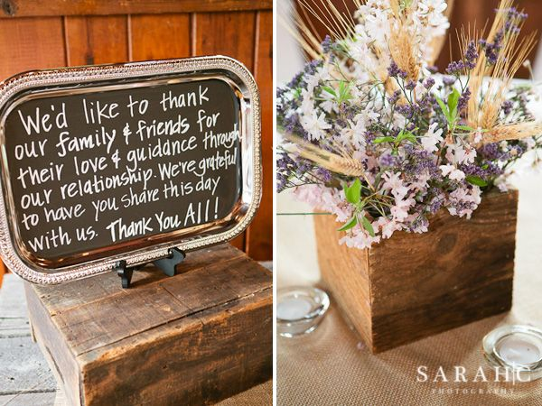 Barn Wood Wedding Decor Brooke P S Chalkboard Thank You For Guests