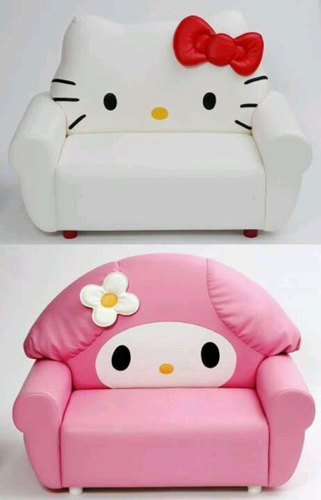 Sanrio Sofa Featuring Hello Kitty and My Melody. It would be cute for a craft room.
