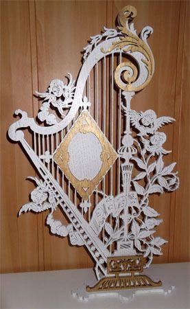 Lyre angels frame, scroll saw fretwork pattern