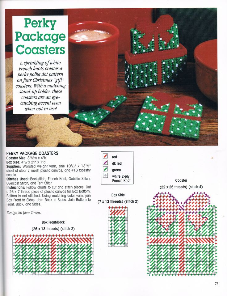 PERKY PACKAGE COASTERS by JOAN GREEN 1/1 - FROM A FESTIVE CHRISTMAS IN PLASTIC CANVAS BOOK ELEVEN