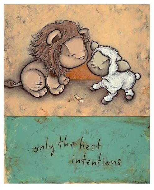 and so the lion fell in love with the lamb. Cutesy it may be but the illustration is first class