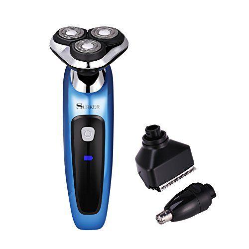 GHB SURKER Rasoir Electrique Homme Rasoir 3D 3 en 1 Rechargeable Lavable Sans Fil avec 3 Têtes Rotatives Pour Couper Barbe Cil de Nez Poils…