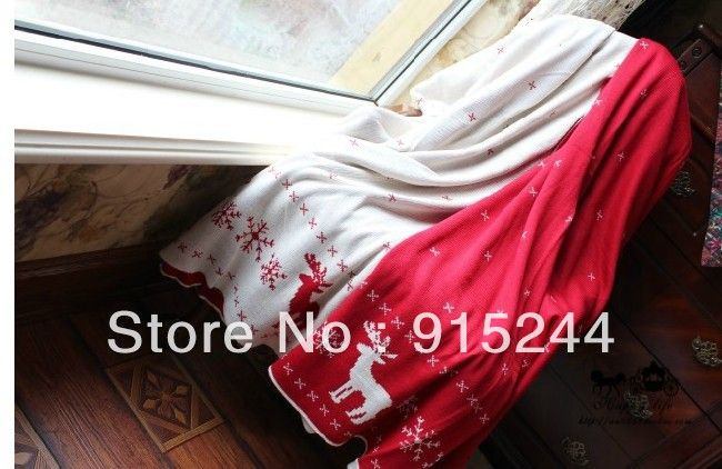 White and Red AB double faced jacquard knitted blanket 130X160cm Towel blanket Christmas red deer crochet bed cover hometextile  $49.80