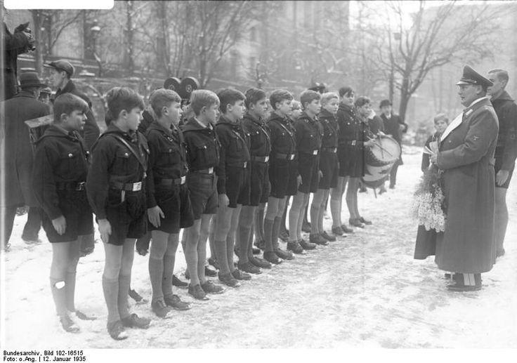 Hitler Youth children at Herrmann Göring's 42nd birthday celebration, Berlin, Germany, 12 Jan 1935