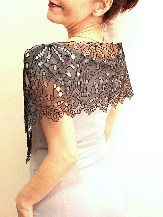 b6b0b4d518 Black guipure lace shawl, black lace stole, evening shawl scarfgothic wedding  cover up bolero shawl, lace wrap scarf, wedding shrug This black beautiful  ...