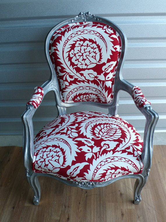 Red Damask Silver Wood Louis Arm Chair