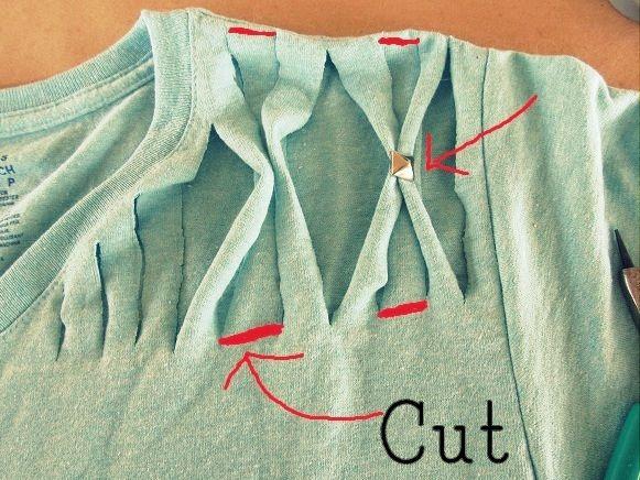 Como fazer pala trançada na camiseta decorada com rebites - Look fantástico com customizacão facil ~ VillarteDesign Artesanato