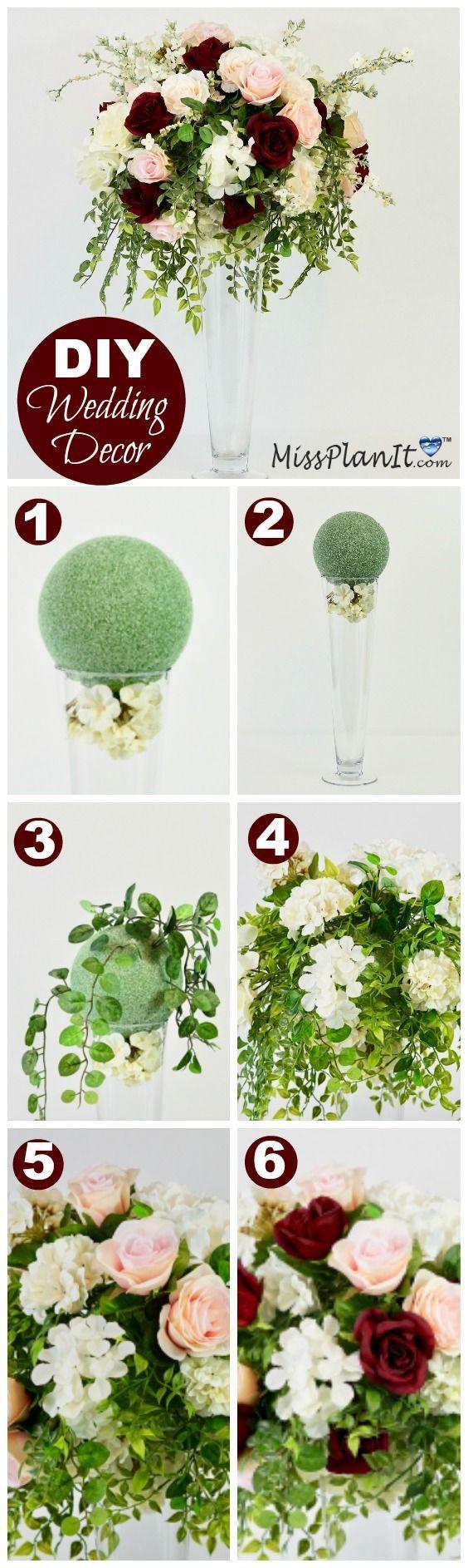 DIY Tall Romantic Rose Blush and Burgundy Wedding ceremony Centerpiece