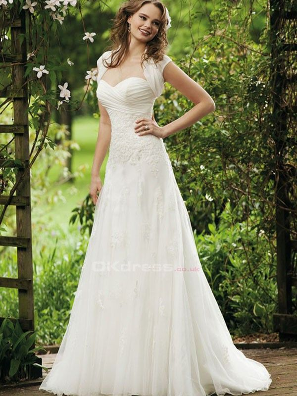 Sweetheart Appqilue Button Wedding Dresses With Jacket - by OKDress UK