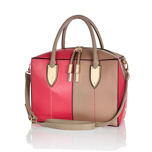 Pink colour block boxy bowler bag - shopper / tote bags - bags / purses - women
