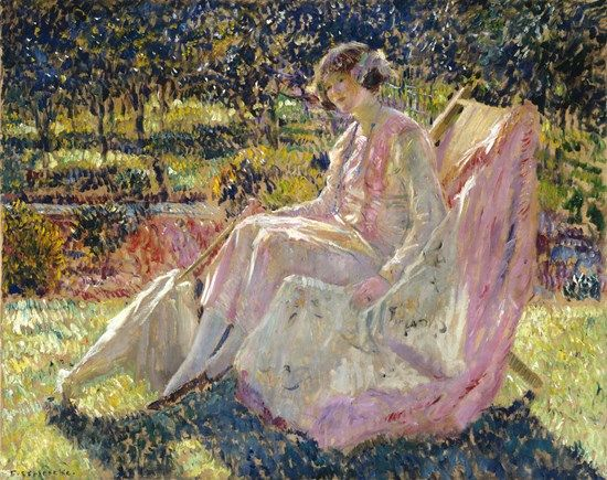 """Sunbath,"" Frederick Carl Frieseke, ca. 1913, oil on canvas, 28 7/8 × 36 1/2"", The Museum of Fine Arts, Houston."