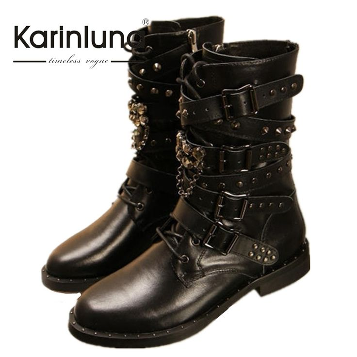 54.23$  Buy now - http://alio8v.shopchina.info/go.php?t=32807487759 - KARINLUNA 2017 Big Size 34-43 Cowboy Boots Rivets Buckle Square Heels Genuine Leather Inside Pig Skin Or Short Plush Woman Shoes 54.23$ #aliexpressideas