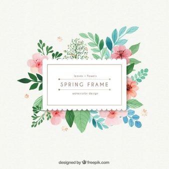 frame da mola da aguarela com folhas e flores
