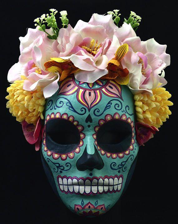 Catrina mask paper mache mask mexican mask masquerade mask