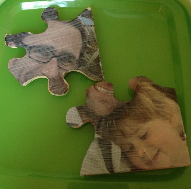 Me and my shadow: Upcycled Jigsaw Puzzle Pieces - How to make photo keyrings