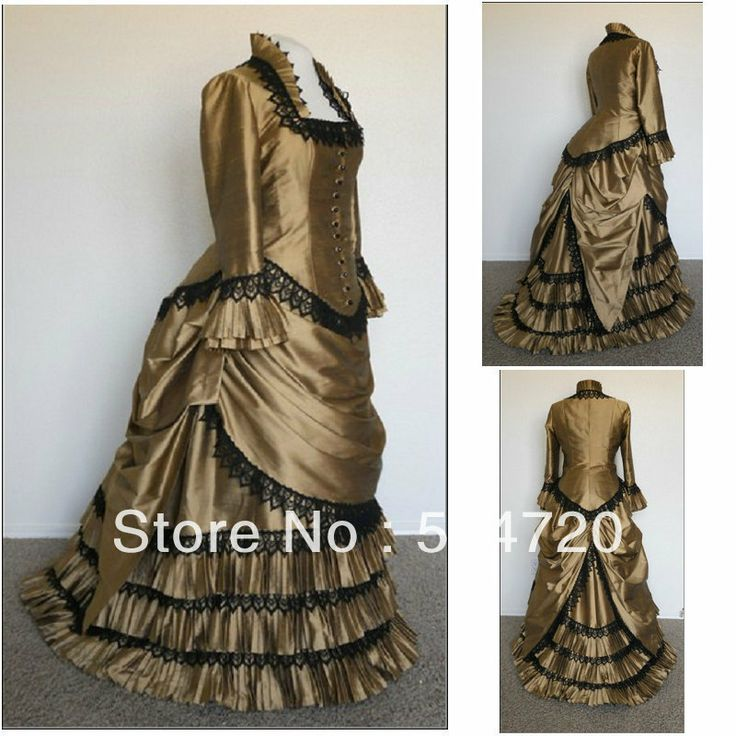 Freeshipping!V 354 Brown Classical Vintage Gothic Lolita dress/victorian Southern belle dress Civil War Halloween dress All Size-in Costumes...138.00$