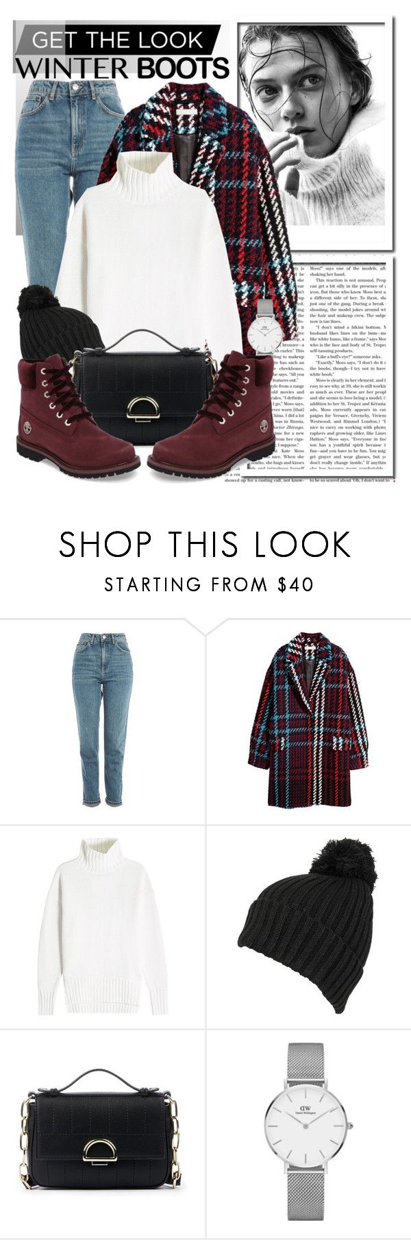 """Get The Look: Winter Boots..."" by glamorous09 ❤ liked on Polyvore featuring Topshop, Joseph, Wilsons Leather, Sole Society, Daniel Wellington and Timberland"