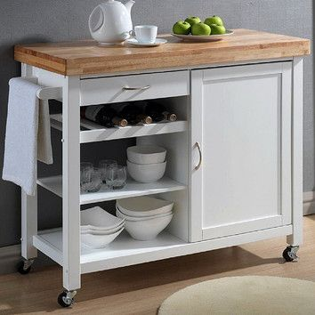 Features:  -Provide plentiful space for cookware, non-perishables, and sundries.  -Removable lower shelf.  Product Type: -Kitchen Island/Butcher Block.  Counter Finish: -Natural stained.  Hardware Fin