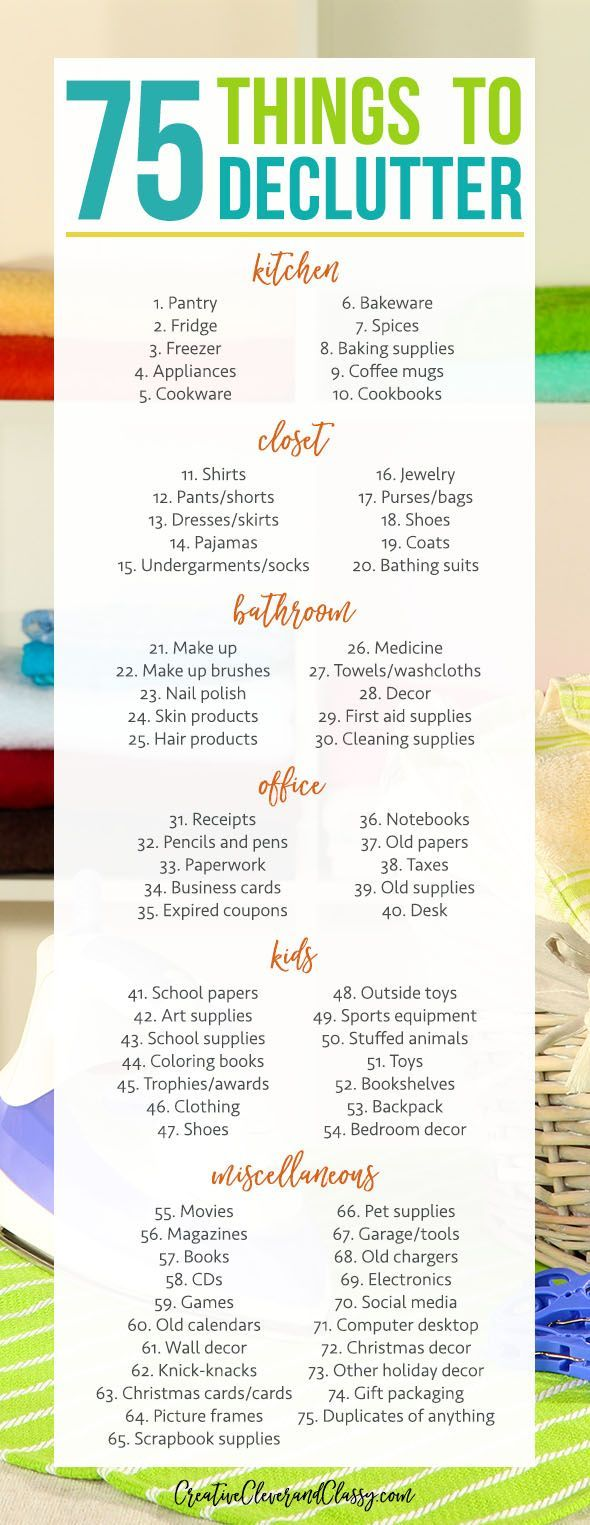 With the new year right around the corner, it's time for decluttering! Here are 75 things to declutter and organize in the kitchen, closet, and more! #Decluttering