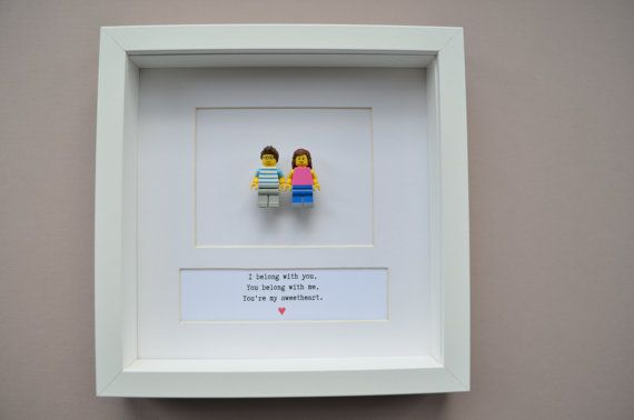 Celebrate your love with a personalised, unique and quirky Lego® mini figures picture.  Great for engagements or a special occasion. Handmade to order.