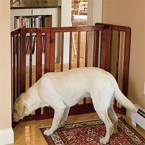 wooden indoor gate. something like this would work great for kids too i bet
