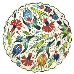 Ceramic - Çini Plate - Multicolored Flowers