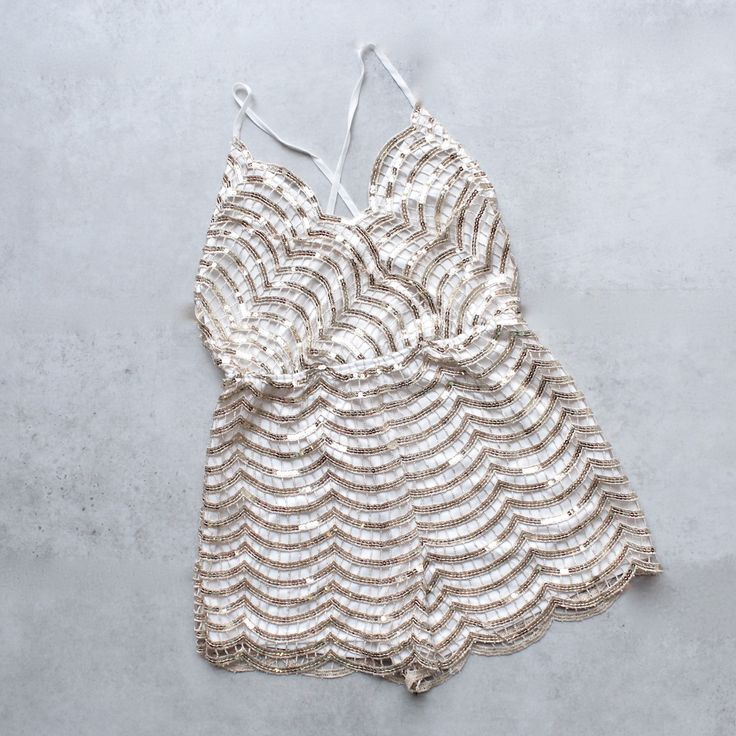 gold rush open back sequin romper - shophearts - 1