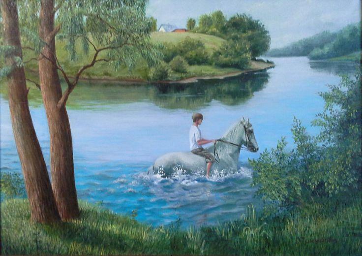 """Купить Картина маслом""""Купание лошади"""",пейзаж - картина маслом, картина для интерьера, картина на холсте"""