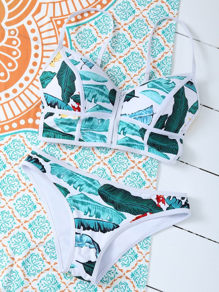 $13.99 Zippered Tropical Bikini FLORAL: Bikinis   ZAFUL