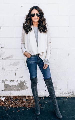 Ily Couture Cream Waterfall Zipper Jacket