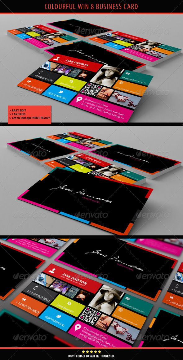 Colourful Win 8 Business Card - GraphicRiver Item for Sale