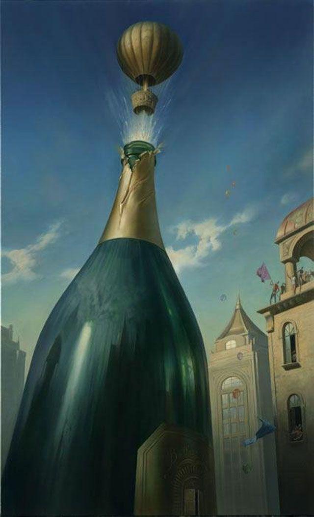 Vladimir Kush #illustration  bottle cork-turned- air balloon