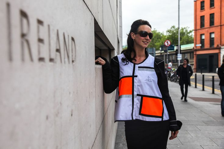 Georgia in Dublin's cool alternative to the yellow high visibility vest. The D1 high vis vest, Mondrian style. Definitely D1 to wear!