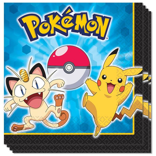 Pokemon Pikachu And Friends Paper Napkins 2 Ply - 33cm - Pack of 16 Sold:Pack of 16 Size: 33cm x 33cm / 13inches Thickness: 2ply Material: Paper Printed all