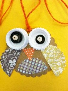 """Owl pendant (cereal boxes + scrap paper + water bottle lids). Could use for """"Use resources wisely"""" petal — ask girls to save boxes and water bottle lids and then use to make owls."""