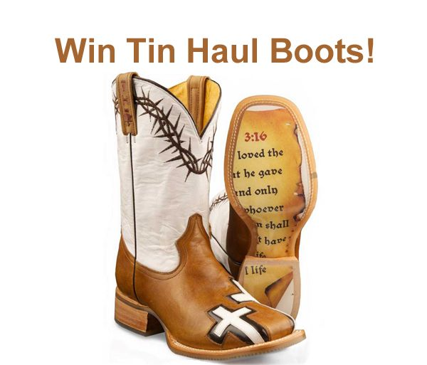 Tin Haul boot giveaway. Visit http://www.thecowboyshoponline.com/Giveaway/Tin-Haul-Boot-Givaway/17.htm to enter.